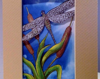 3-D Dragonfly Paper-cut Greeting Card