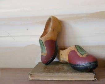 Vintage Wooden Shoes / WW2 Era / Decorative Carved Wood / Soviet Souvenir / Folk Art
