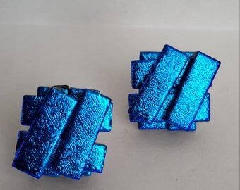 Blue-Gold Dichroic Glass Stud Earrings - Silver P/T