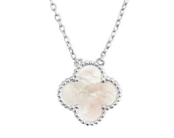 Mother of Pearl 18k White Gold over Sterling Silver Single Motif Medium Clover Necklace