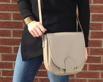Taupe Vegan Leather Crossbody Bag