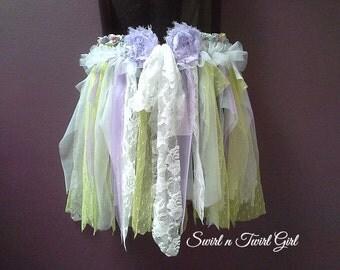 FLOWER GIRL TUTU, dance costume, green purple lilac tutu, white fairy tutu, shabby pixie tutu, birthday tutu, tattered tutu, 3 4 5 year old