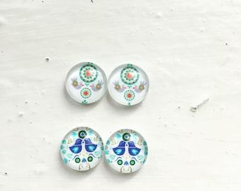 Folklore bird earrings set