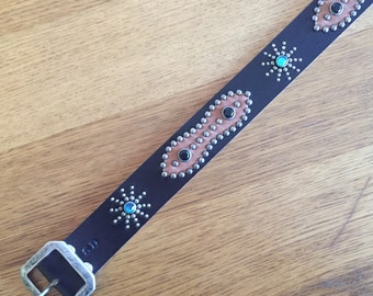 Black leather rockabilly studded western belt brown sugar
