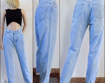 Vintage womens high waist jeans mom jeans complices french retro pale blue jeans 28 inch waist