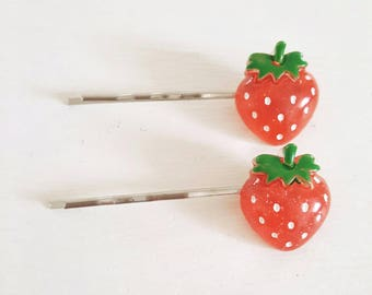 Strawberry hair pins,  fruit hair pins, cute hair accessories, red hair pins, fruit hair accessories, gifts for her