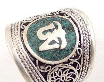 RING TIBETAN BUDDHIST om Tibetan, Buddhist jewelry, meditation, zen, abt11