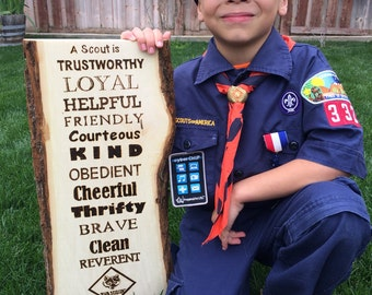 Boy Scout Law Wood burned wall plaque