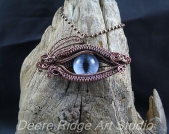 Dragon Eye Pendant, Blue Eye Pendant, wire wrap pendant, wire weave pendant - Copper wire weave pendant - Copper wire wrap pendant