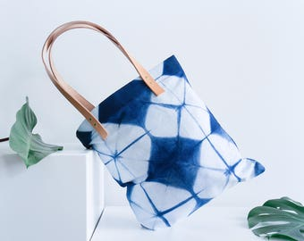 Shibori and Leather Tote bag // Full Bloom Summer Bag