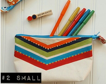 Small handpianted chevron and floral zip pouch