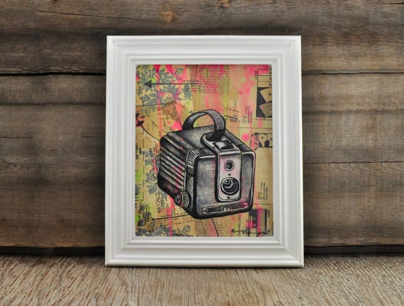 Kodak Brownie Camera Original Framed Painting by Cindy Labrecque, 8 x 10 inches.