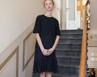 SALE Black shift midi dress, modern black dress, black dress with sleeves, little black dress, everyday dress, short sleeve dress, loose fit