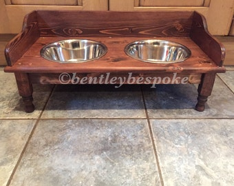 raised dog food bowls wooden stand