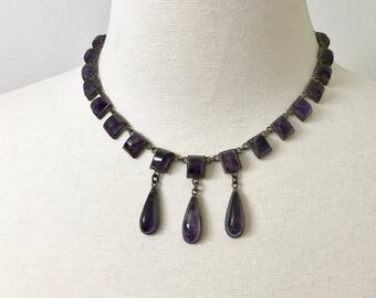 Stunning Vintage Sterling Silver & Lilac Amethyst Stones Mexico Necklace