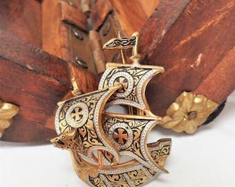 Damascene Brooch Galleon Sailing Ship Design Vintage Toledo Spain Made Costume Jewellery Gift Ideas