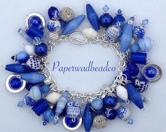 Paper Bead Charm Bracelet, Blue and White Charm Bracelet, Chunky Charm Bracelet, Paper Jewelry, Up Cycled Jewelry, Cha Cha Bracelet