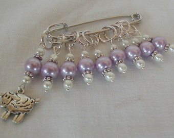 Knitting Stitch Markers Wooly Sheep Lilac Glass Beads Handmade Set of Nine Gift