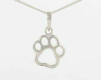 Sterling Silver Paw Print Pendant Necklace Pet Remembrance Jewellery
