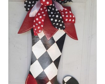 Christmas Door Hanger, Christmas Wreath, Christmas Stocking Door Hanger, Christmas Decorations, Stocking Hanger, Christmas Stocking
