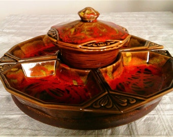 Vintage California Originals Brown and Orange Dripware Lazy Susan Snack Tray