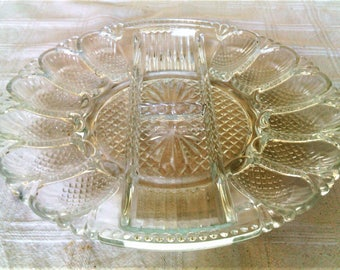 Vintage Clear Pressed Glass Deviled Egg Tray With Relish Compartments In Center