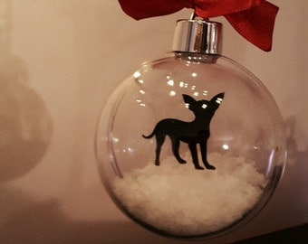 Chihuahua  Silhouette in Snow Acrylic Bauble can be Personalised