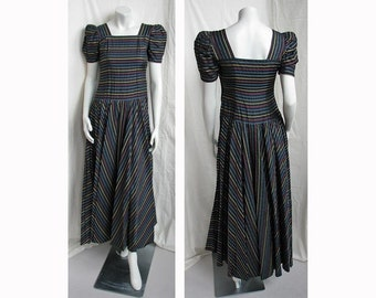 Vintage 1940s Dance Dress Striped Taffeta Gown JEAN CAROL ORIGINAL