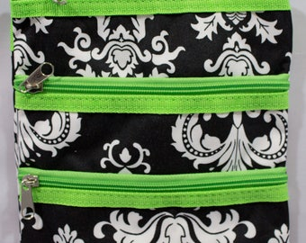 Messenger Bag-Cross Body Purse-Black Damask-Lime Green-Travel-Luggage-Purse