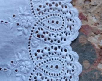 1800s French handmade lace jupon trim cutwork broderie anglais whitework off white handstitched lining costume design vintage winter wedding