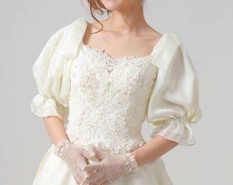Vintage 80s large puff sleeve wedding dress