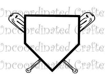 home plate and cross bats svg// baseball svg// softball svg// home plate svg
