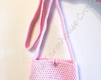 Pink Purse, Pink Bag, Pink Crochet Purse, Spring Purse, Pink Crossbody Bag, Pink Crossbody Purse, Shoulder Purse, Pink Crochet Bag