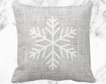 Gray Burlap White Snowflake // Holiday Decor Throw Pillow