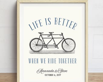 Wedding Gift, Vintage Bicycle Print, Personalized Wedding Art, Wedding Print, Anniversary Art, Engagement Print