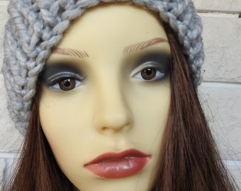 Hand Knitted Light Grey Winter Hat With Multicoloured Pompom - Free Shipping