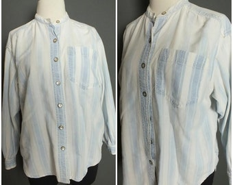 90's Light Blue Striped Faded Denim Chambray Shirt Jeans Shirt S