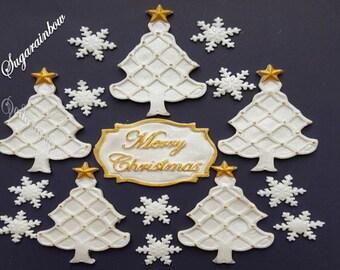 "Edible christmas decorations  christmas tree snowflakes plaque ""Merry Christmas"" cake cupcake toppers"