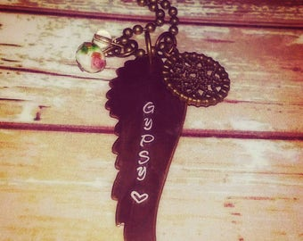 "Boho Rose Hand Stamped Rustic Bronze Winged Charm Necklace - ""Gypsy"""