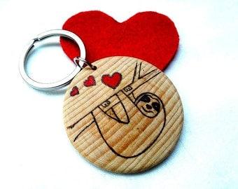 Sloth Keyring, Sloth Keychain, Valentines Day, Valentines Day Gift, Hanging Sloth, Animal Keyring, Animal Key Chain, Personalized Keyring