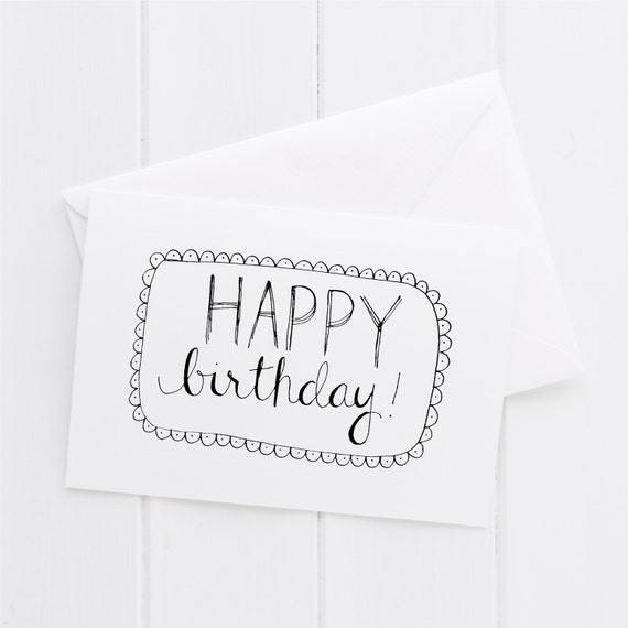 Hand Lettered Free Printable Birthday Card: Happy Birthday Hand Lettered Card Print Typography Gift