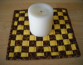 "Woven fabric potholder//Woven fabric trivet/Brown and yellow woven fabric potholder/trivet//8"" potholder/trivet//Brown and yellow trivet"