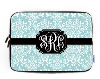 Monogrammed Laptop Bag 17, Personalized Mint Blue Damask Pattern Laptop Sleeve 15, Laptop Bag,Custom Neoprene Laptop Case,Initial Laptop Bag