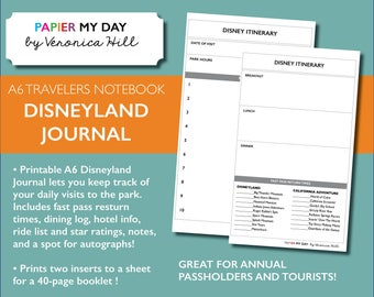 Disneyland Journal - Printable A6 Disney Journal for Travelers Notebooks (40 pages!)