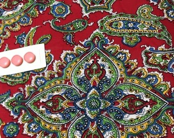 "1950s Mid Century Mod Corron Jersey Fabric // deep red background with paisley and Eastern influenced design 110""x 44"" lightweight"