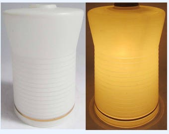 Vintage Mid Century White & Gold Glass MOD Lamp light Shade, Geometric Retro.