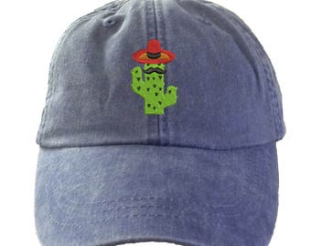 CACTUS SOMBRERO Hat.  Embroidered Hat.  Embroidered Baseball Hat. Cool Mesh Lining & Adjustable Strap. 33 Colors Avail. HER-LP101