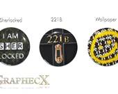 Fan-made Sherlock Holmes 221B sherlocked cosplay inspired personalized buttons