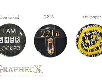 Fan-made Sherlock Holmes 221B sherlocked cosplay inspired personalized buttons