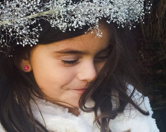 Silver Flower Crown Headband Girl's or Women Flower Headpiece Floral Halo Winter Wedding Flower Girl Holiday Party Headband Boho Hair Wreath